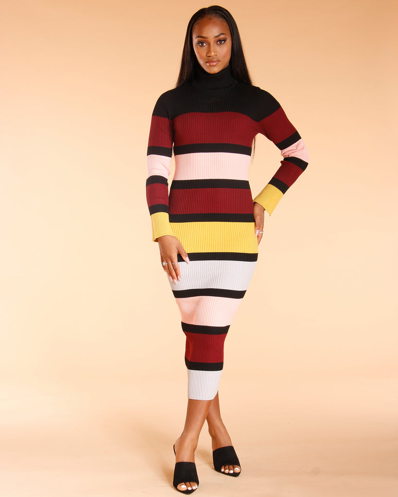 8b0563ea90f Women s Kai Turtle Neck Ribbed Sweater Dress - Vim Vixen