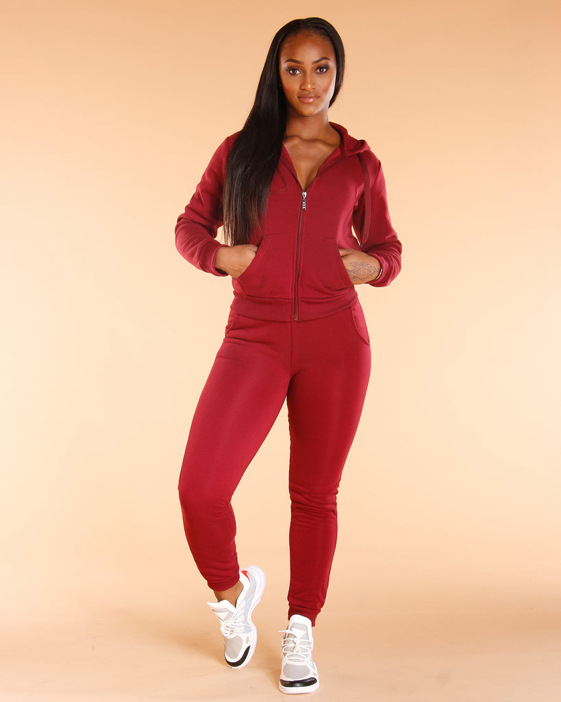 VIM VIXEN Fleece Bottom - Burgundy - ShopVimVixen.com