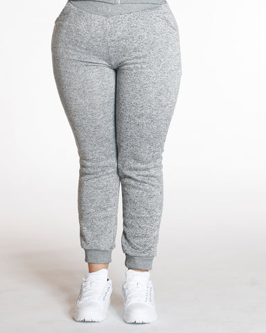 Grey Knitted Fleece Pant Grey