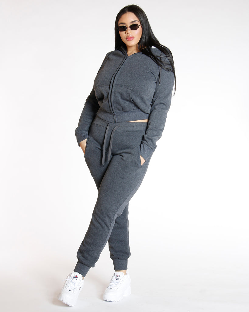 VIM VIXEN Knitted Fleece Jacket - Charcoal - ShopVimVixen.com