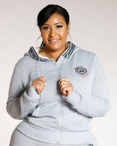 Heather Grey PLUS LOVE FLEECE HOODIE
