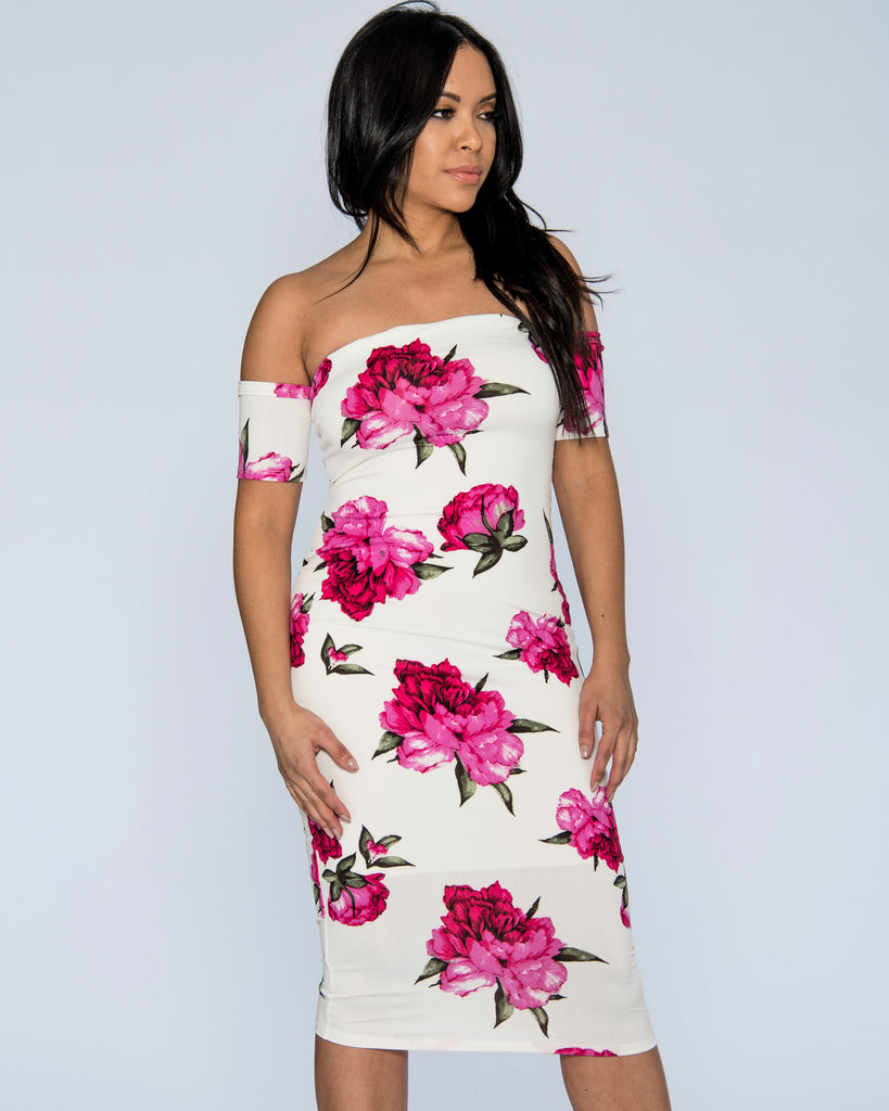 Betty Floral Off The Shoulder Dress