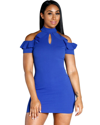 SOLID COLORED DRESS WITH CUT OUT DETAIL AND RUFFLES ON THE SHOULDER