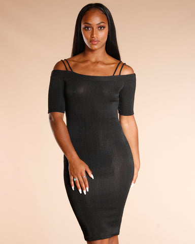 DOUBLE STRAPS RIBBED MIDI DRESS