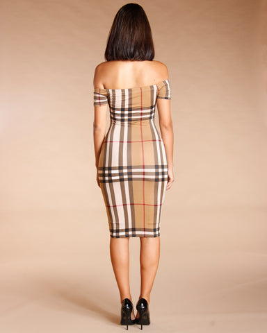 CHECKER PRINT BODYCON DRESS