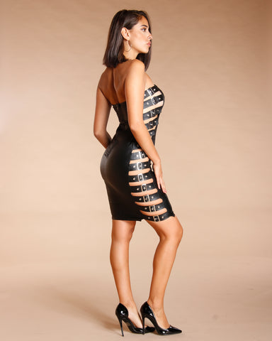 BANDEAU BUCKLE SIDE BODYCON DRESS