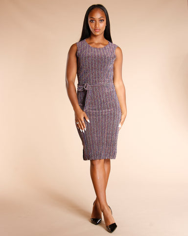 MULTI LUREX MIDI DRESS