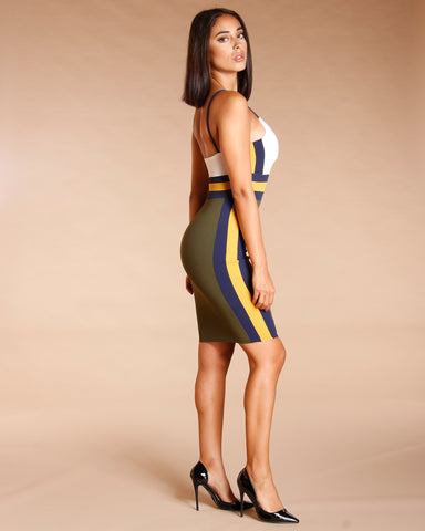 COLOR BLOCK BODYCON DRESS - OLIVE