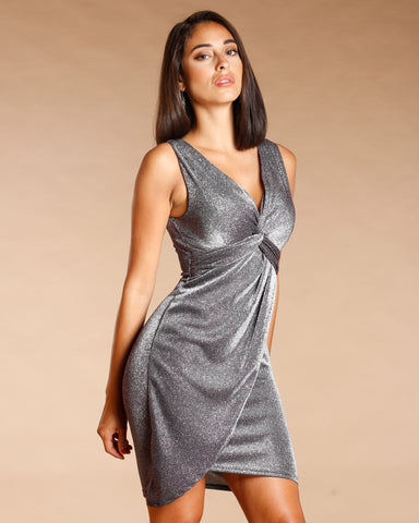 LUREX KNOT FRONT SURPLUS DRESS - SILVER