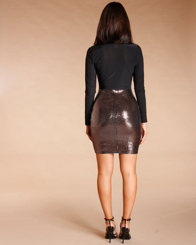 SEQUIN PLUNGE BODYCON DRESS - BLACK
