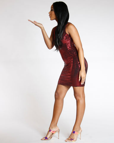 Red Queen Of Sequins Bodycon Dress