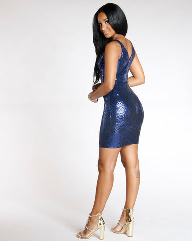 Blue Queen Of Sequins Bodycon Dress