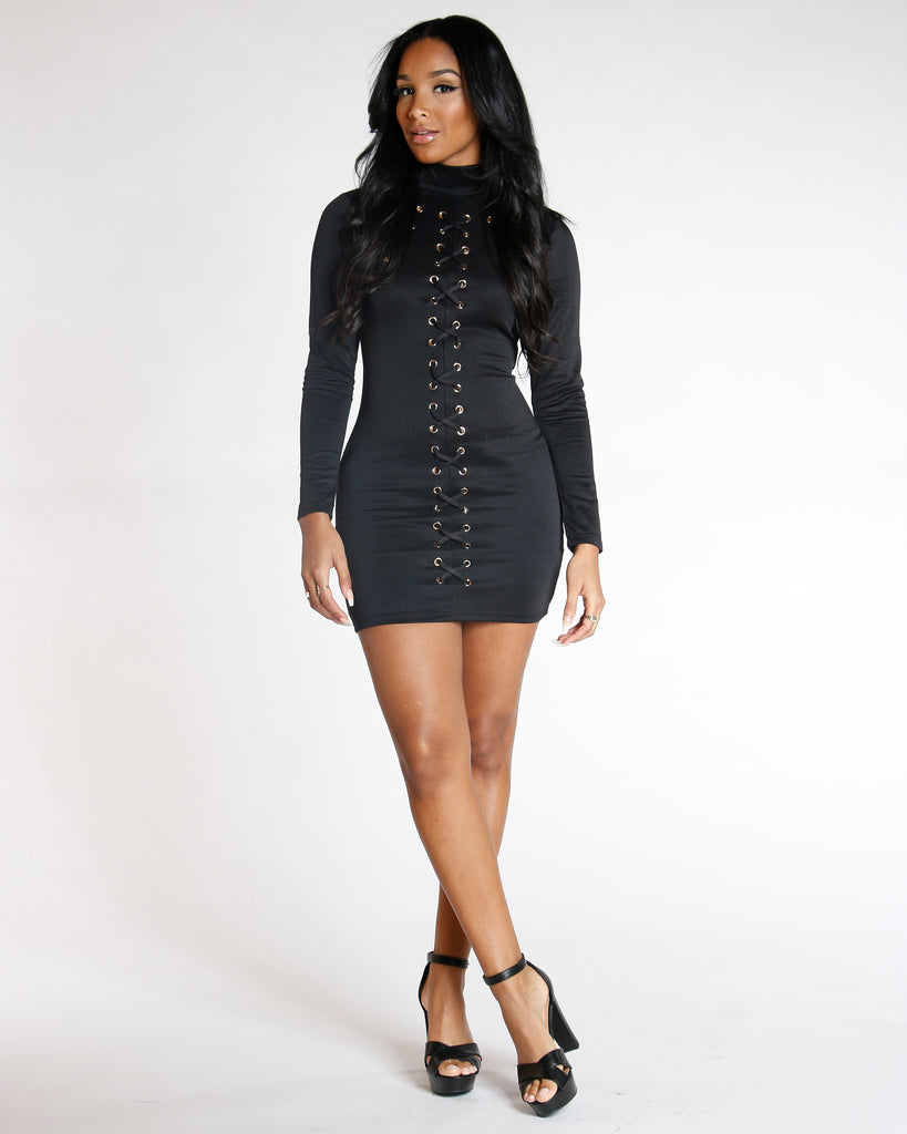 Black Long Sleeve Lace Up Rivets Dress