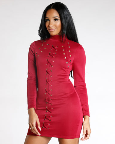 Burgundy Long Sleeve Lace Up Rivets Dress