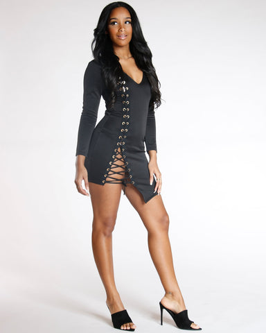 Black Side Lace Long Sleeve Dress