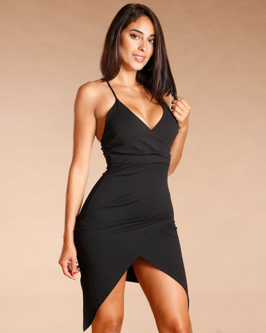 WRAP FRONT SPAGHETTI STRAP DRESS (AVAILABLE IN 2 COLORS)