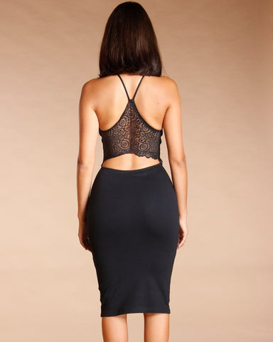 Lace Trim Cross Back Midi Dress (Available In 2 Colors)