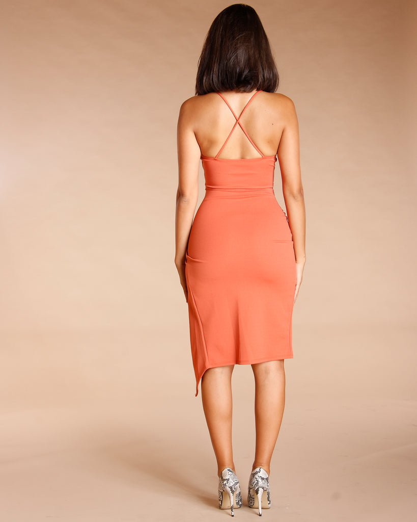 Wrap Front V Wire Dress (Available In 2 Colors)
