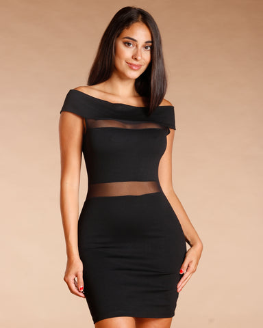 OFF THE SHOULDER MESH DRESS (AVAILABLE IN 2 COLORS)