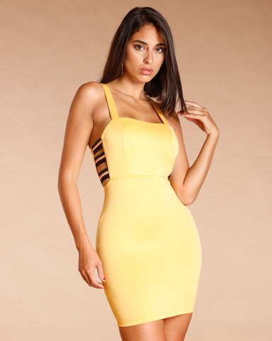 CUT OUT ELASTIC SIDE MINI DRESS (AVAILABLE IN 2 COLORS)
