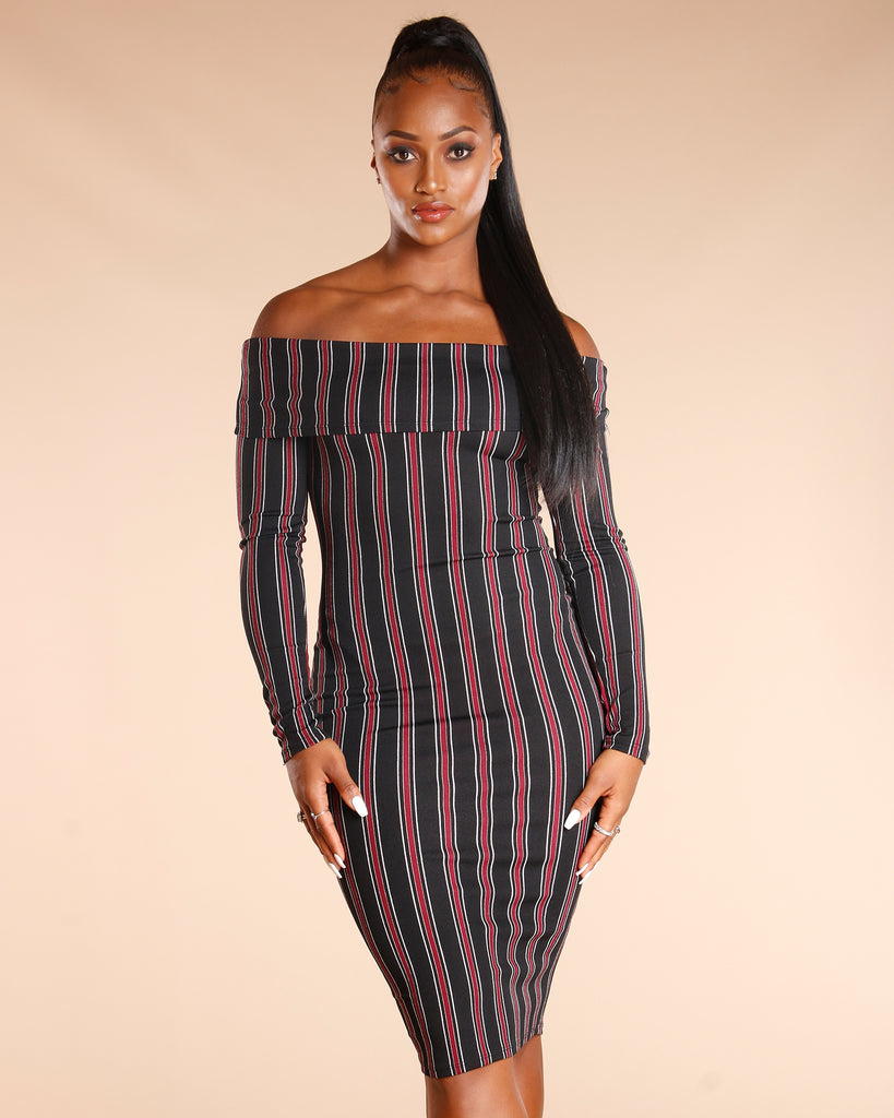 Off The Shoulder Long Sleeve Stripe Dress