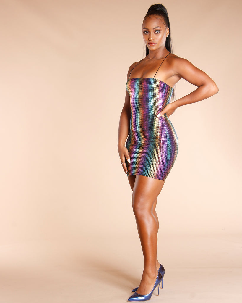 Rainbow Stripe Foil Dress