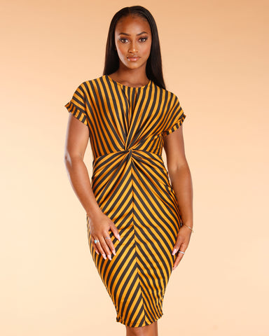 Knotted Front Stripe Dress