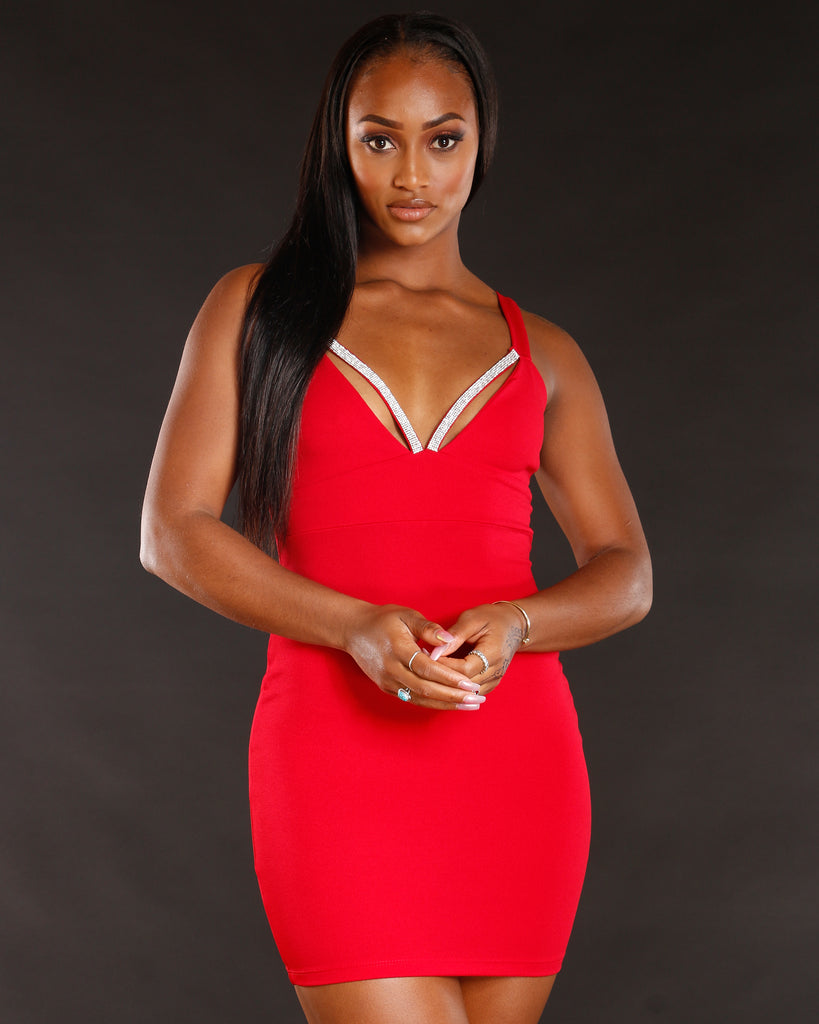 Women's Rhinestone Deep V Mini Dress - Vim Vixen - Remy Ma - Red