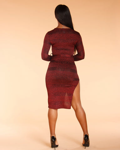 Boss Lady Long Sleeve Red Belted Dress