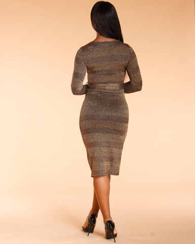 Gold Long Sleeve Belted Dress