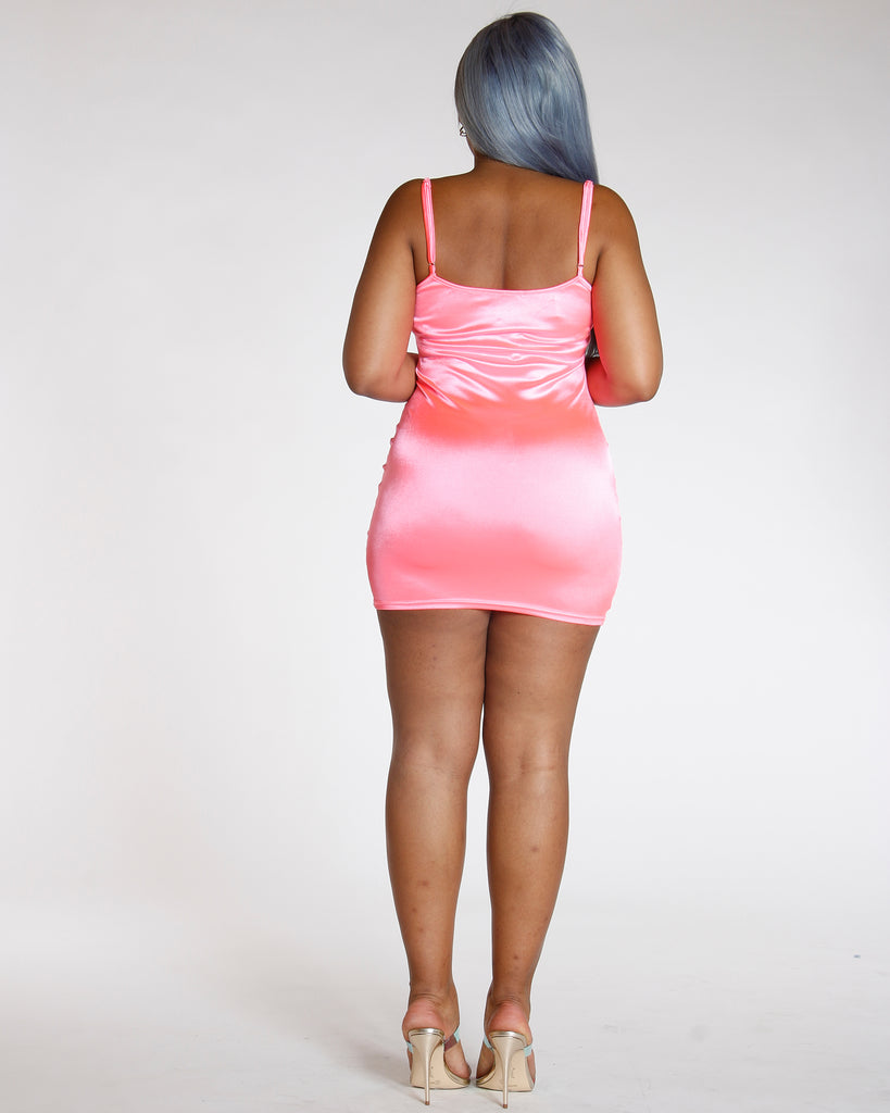 Baby Pink Stretch Satin Look Tank Dress