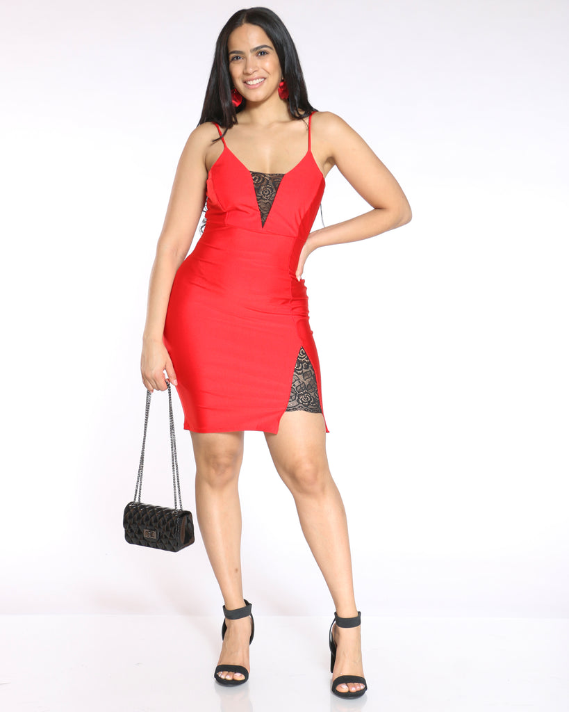 Hope Lace Trim Bodycon Dress - Red