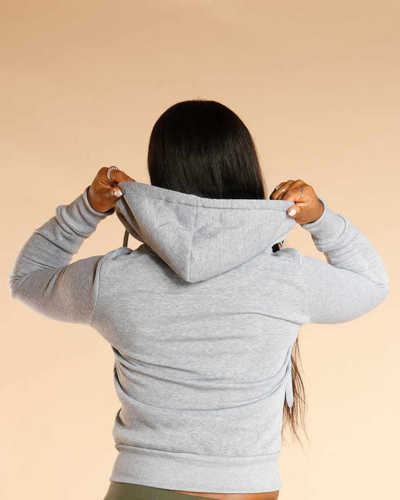 Knitted Fleece Hoodie - Grey