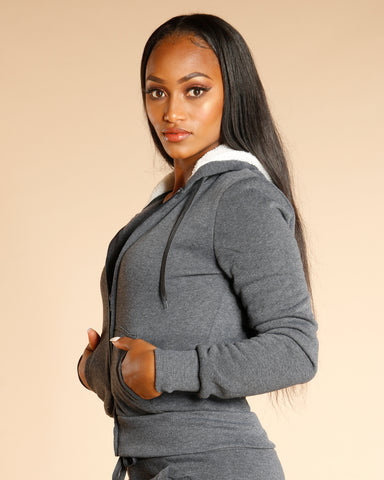 KNITTED FLEECE HOODIE - CHARCOAL