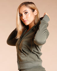 KNITTED FLEECE HOODIE - OLIVE
