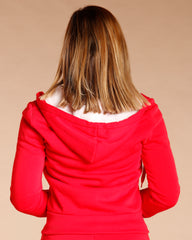 Knitted Fleece Hoodie - Red