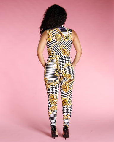 SLEEVELESS CHAIN PRINT JUMPSUIT