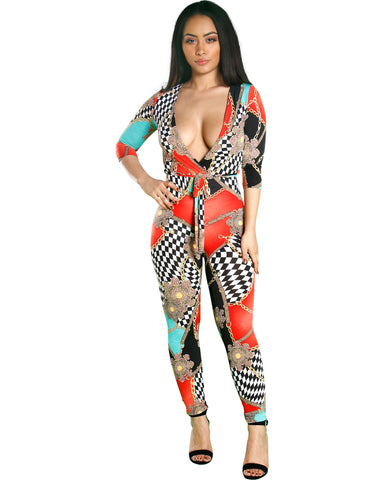 KYLIE CHAIN PRINT JUMPSUIT (AVAILABLE IN 2 COLORS)