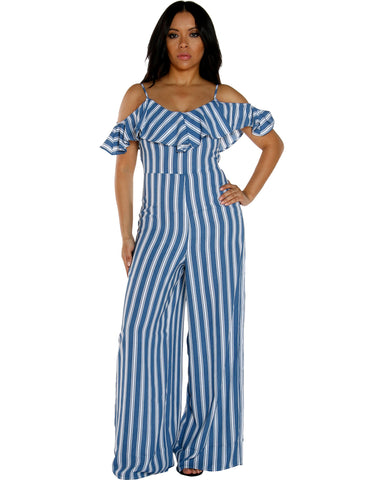 STRIPE PRINT JUMPSUIT WITH RUFFLE DESIGN ON SHOULDER
