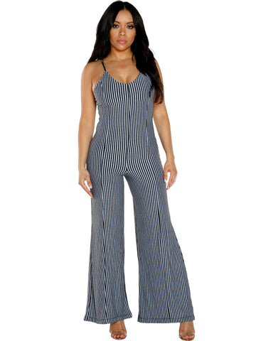 STRIPE PRINT JUMPSUIT WITH SPAGHETTI STRAPS