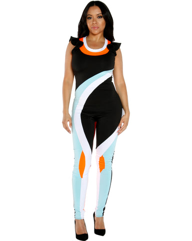 MARY Color block JUMPSUIT (Available in 2 colors)