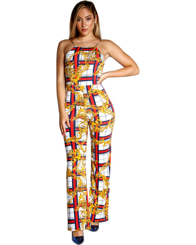 CHAIN PRINT CHECKERED JUMPSUIT (AVAILABLE IN 2 COLORS)
