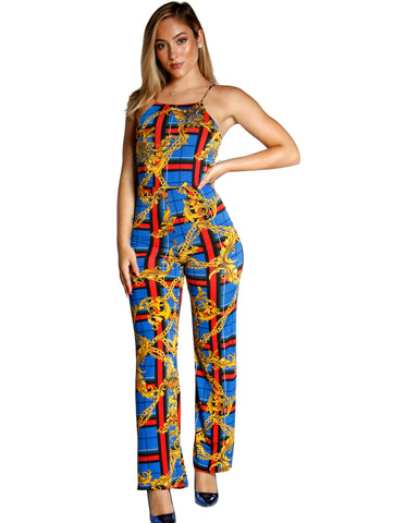 GOLD CHAIN PRINT JUMPSUIT WITH CHECKERED DETAIL