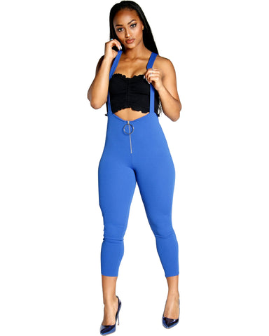 SOLID COLORED JUMPSUIT WITH O RING ZIPPER DETAIL