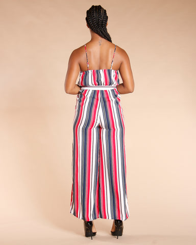 Stripe Waist Tie Jumpsuit - Red