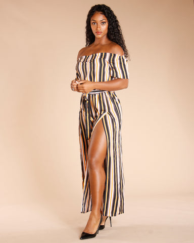STRIPE OFF THE SHOULDER JUMPSUIT - BLACK GOLD