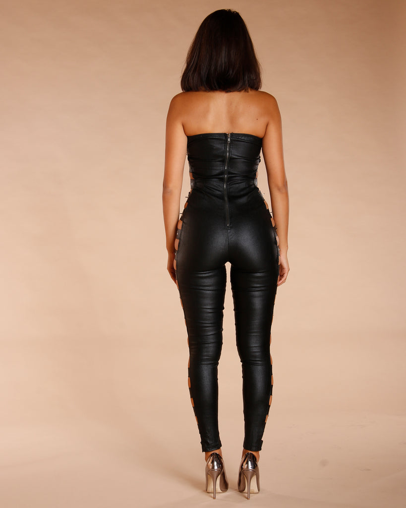Black Buckle Side Jumpsuit