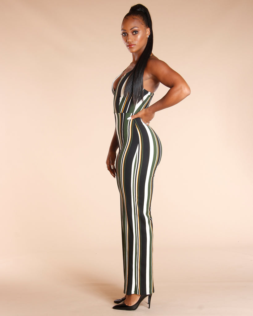Hunter Green Stripe Jumpsuit