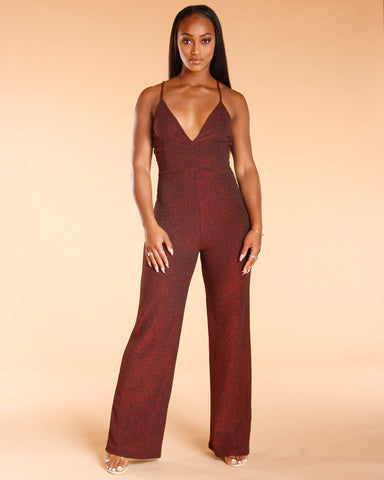 Red Flare Leg Glitter Jumpsuit