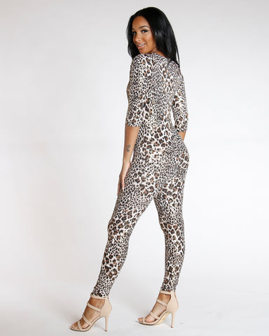 All The Way Leopard Print Jumpsuit